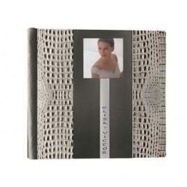 Album Boda cuero regenerado blanco y negro con tira en Stras y ventana 14x14cm ref.3711568