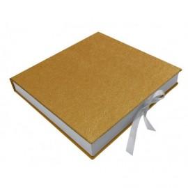 Caja para fotos en semipiel kora Oro interior madera ref.CAJA313