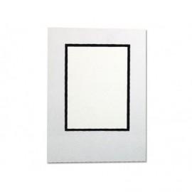 Cartonaje blanco brillo orla negra y base ref.C08 pack 25 unidades