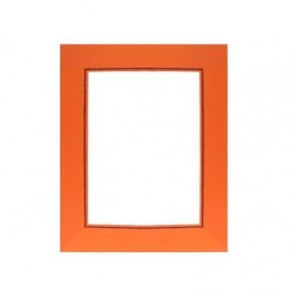 Cartonaje naranja con ventana orla azul y base ref.EC128 pack 25 unidades