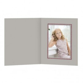 Cartonaje gris con tapa y ventana orla burdeo ref.CT22 pack 25 unidades
