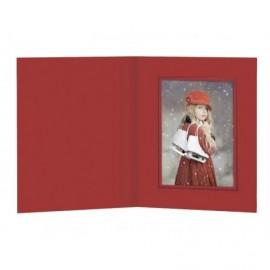 Cartonaje rojo con tapa y ventana orla azul ref.CT25 pack 25 unidades