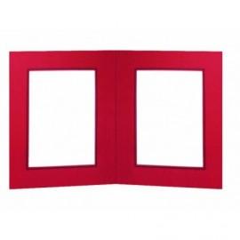 Díptico rojo con ventana orla azul ref.DIP25 pack 25 unidades