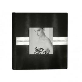 Album Boda cuero regenerado blanco y negro con tira en Strass y ventana 14x14cm ref.3711568