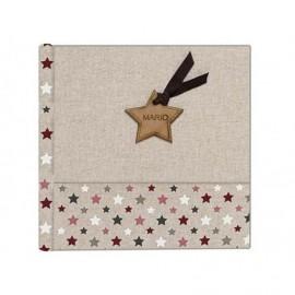 Album en Lino estrellas combinado con lino natural y detalle en madera personalizado ref.1791803