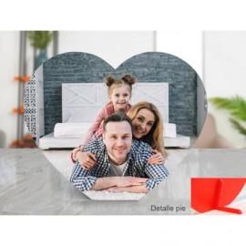 Foto en PVC blanco de 5mm corazón con peana
